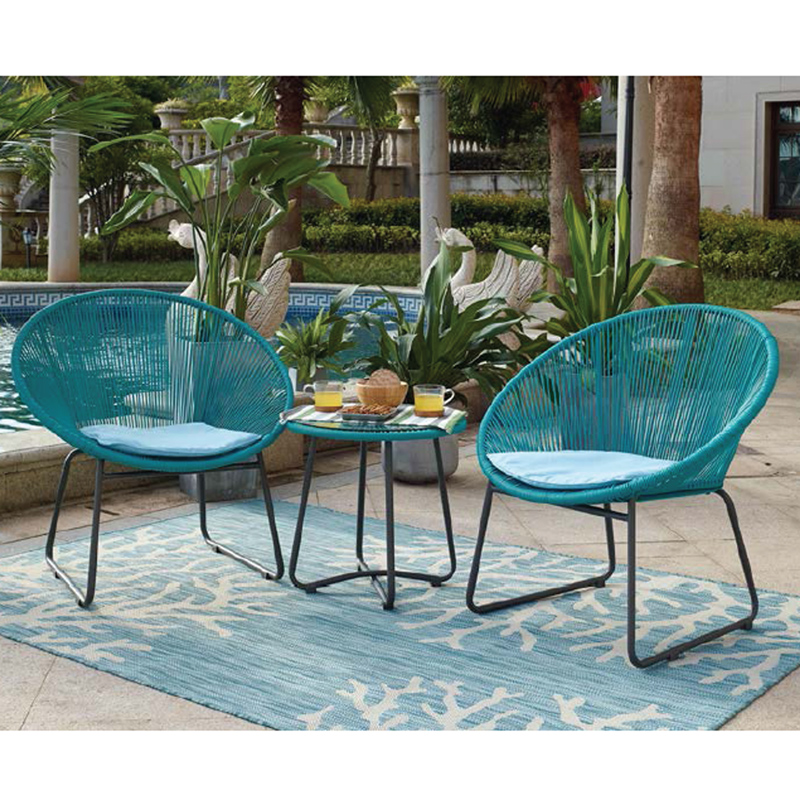 Steel & wicker 3pcs sofa set VV-604